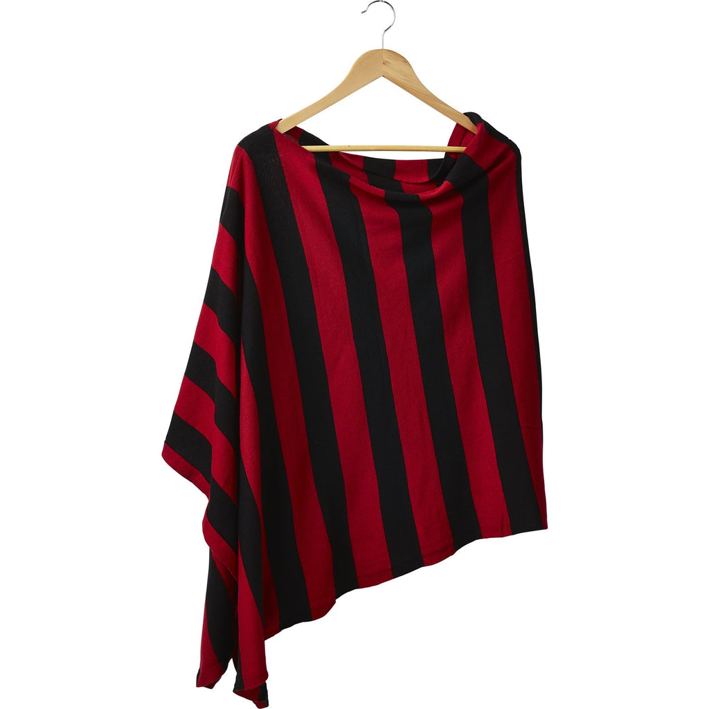Game Day Wide Stripe Cotton Poncho - Red Black - Tickled Pink Wholesale