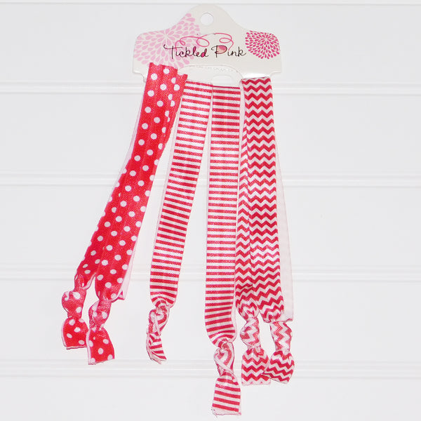 Gameday Headband Set - Red - White - Tickled Pink Wholesale