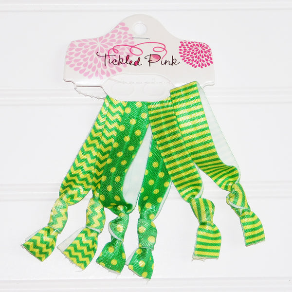 Wholesale Scarves - Gameday Hair Tie Set - Green - Gold - Tickled Pink