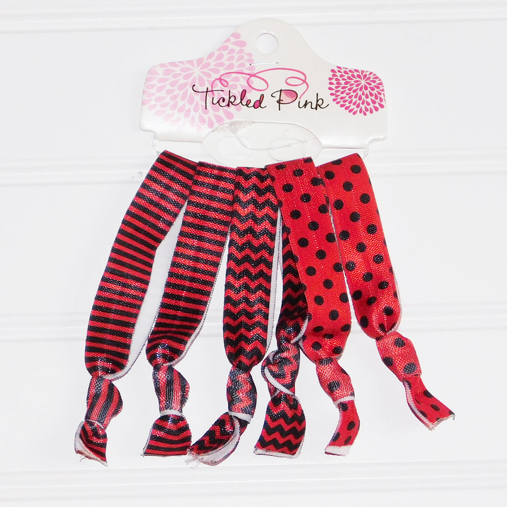 Gameday Hair Tie Set - Red - Black - Tickled Pink Wholesale