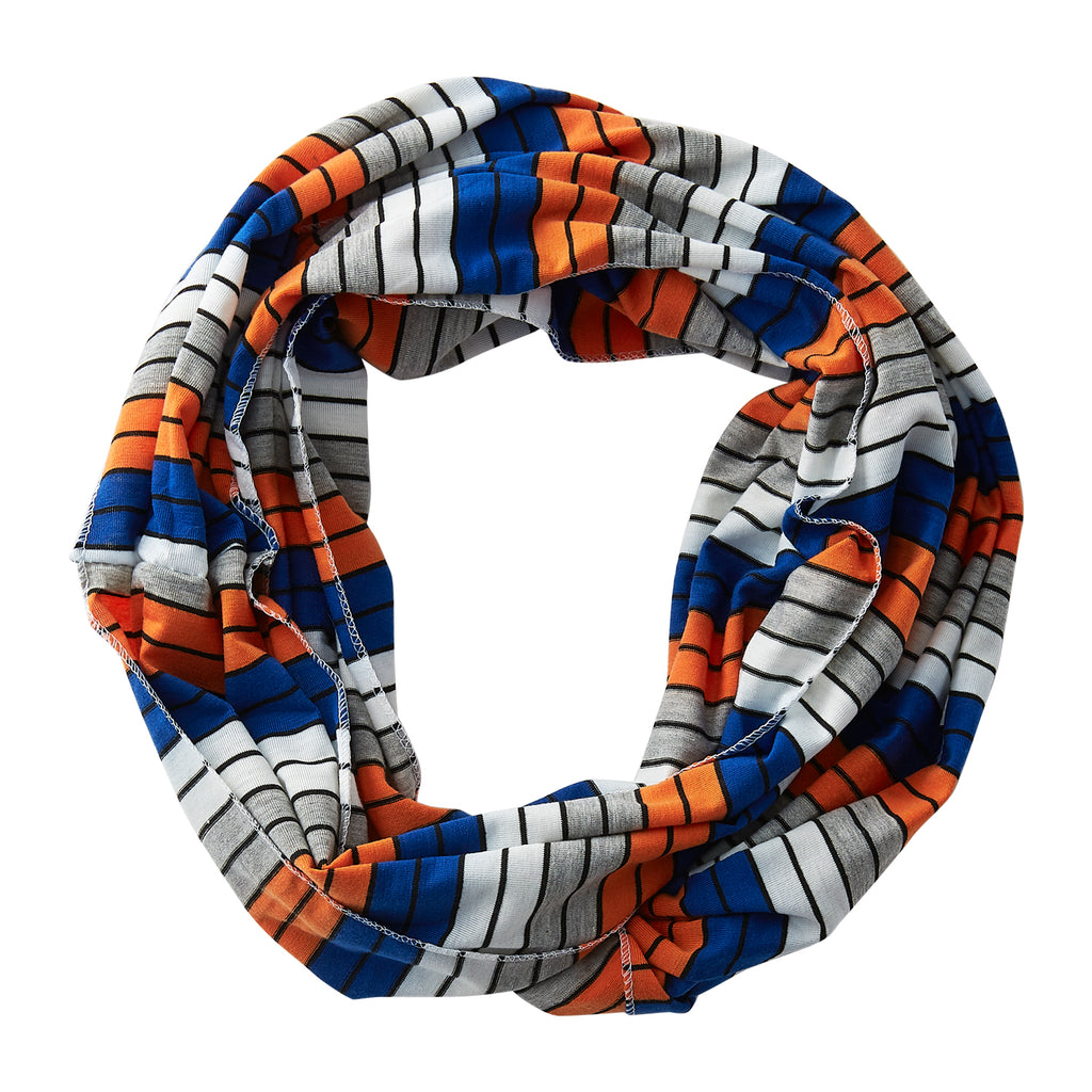 Wholesale Boutique Gifts - Gray Striped Infinity - Blue Orange - Tickled Pink