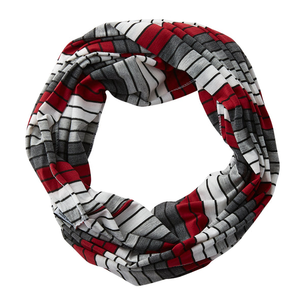Gray Striped Infinity - Crimson - Tickled Pink Wholesale