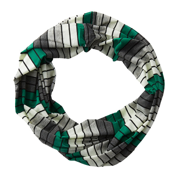 Wholesale Boutique Gifts - Gray Striped Infinity - Green - Tickled Pink