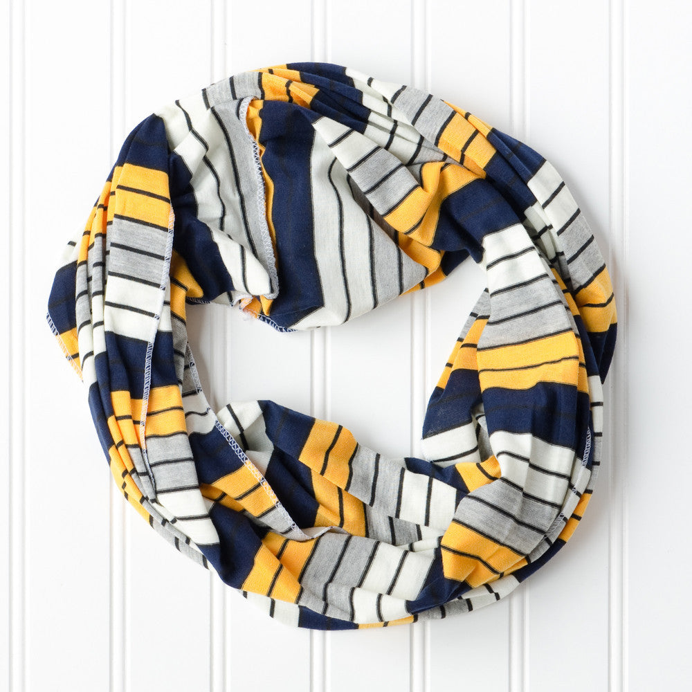 Gray Striped Infinity - Navy Gold - Tickled Pink Wholesale