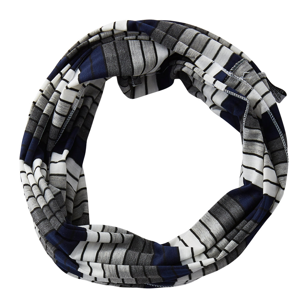 Gray Striped Infinity - Navy Blue - Tickled Pink Wholesale