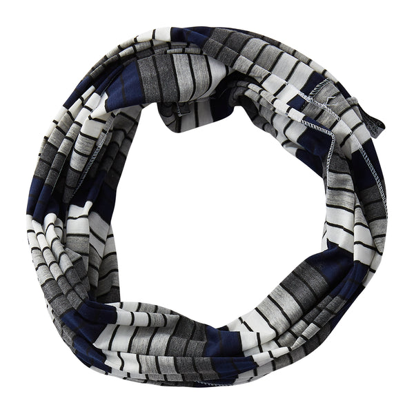 Wholesale Boutique Gifts - Gray Striped Infinity - Navy Blue - Tickled Pink