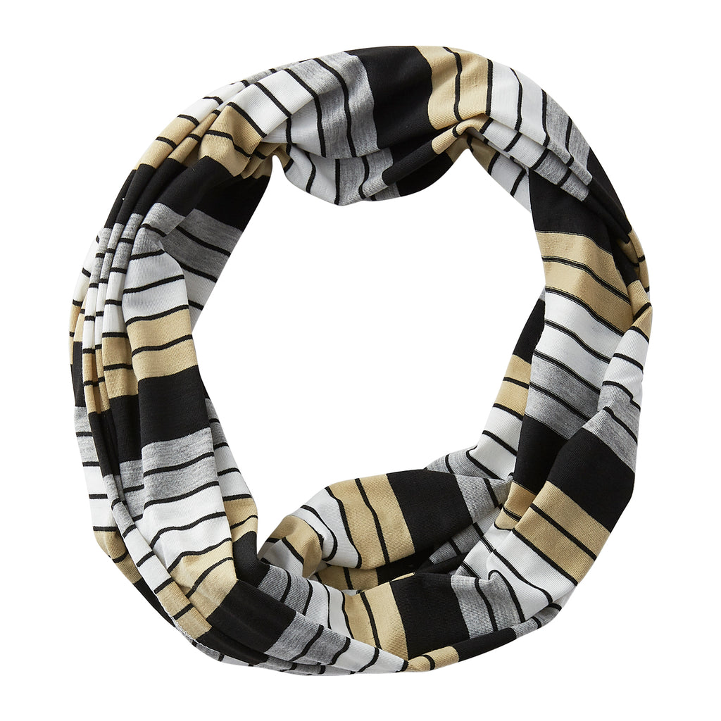 Gray Striped Infinity - Black/Old gold - Tickled Pink Wholesale