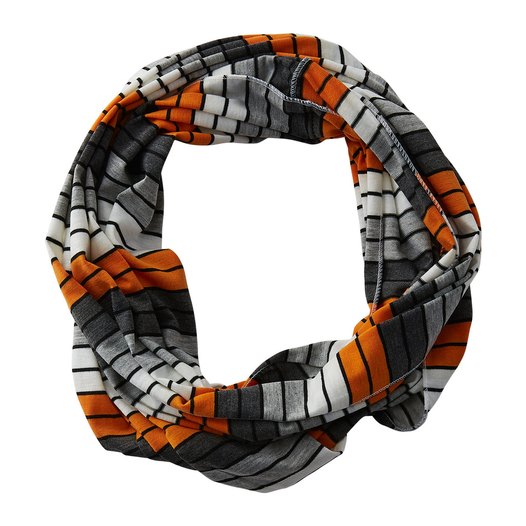 Wholesale Boutique Gifts - Gray Striped Infinity - Orange - Tickled Pink