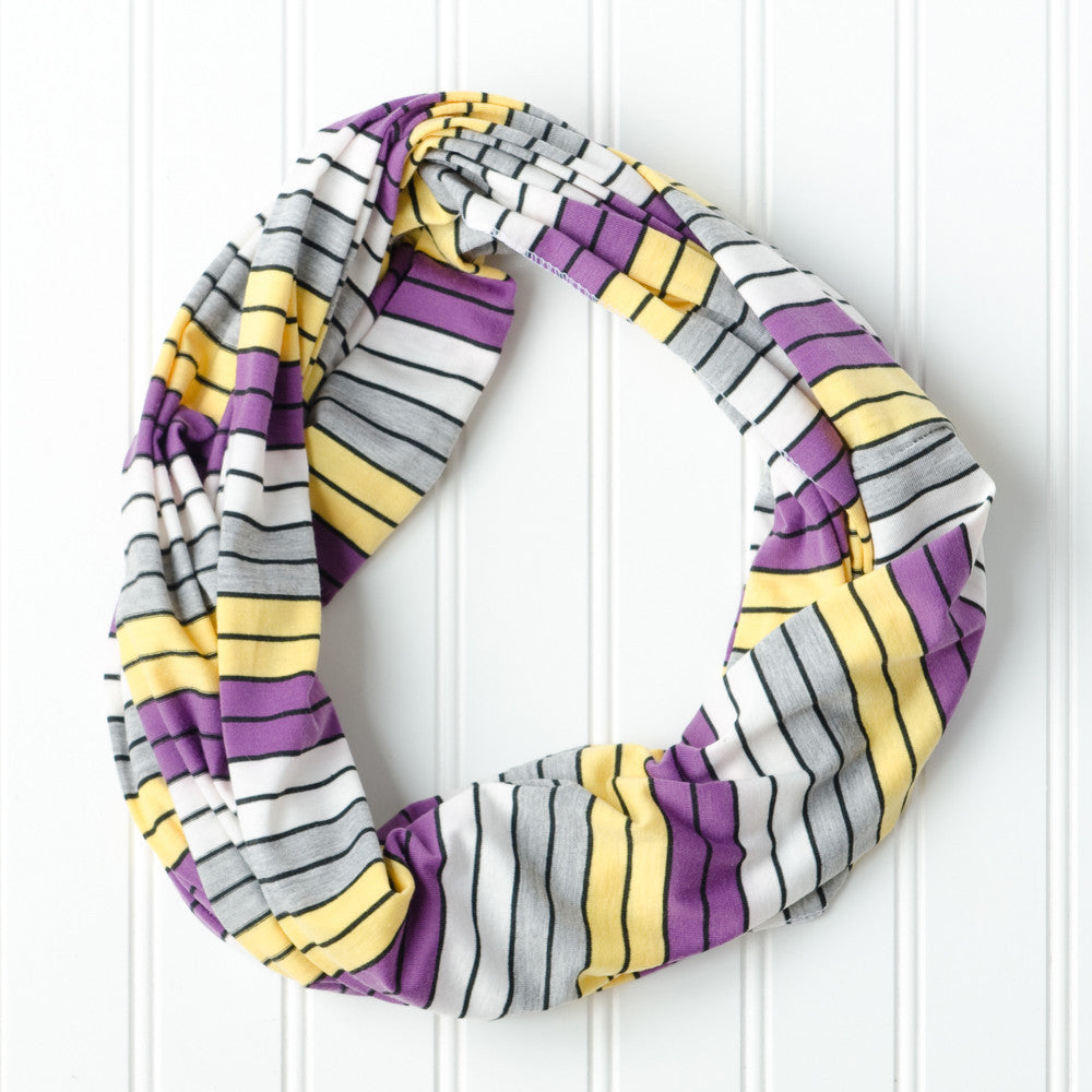 Gray Striped Infinity - Purple Gold - Tickled Pink Wholesale