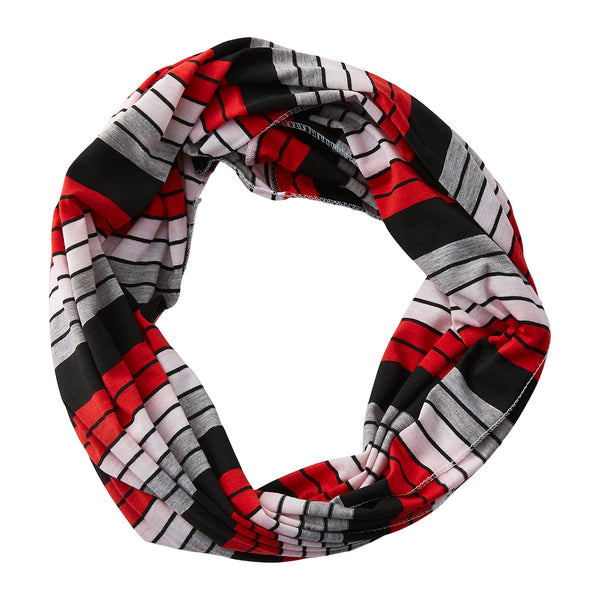Wholesale Boutique Gifts - Gray Striped Infinity - Red Black - Tickled Pink