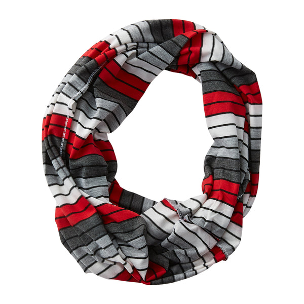 Wholesale Boutique Gifts - Gray Striped Infinity - Red - Tickled Pink
