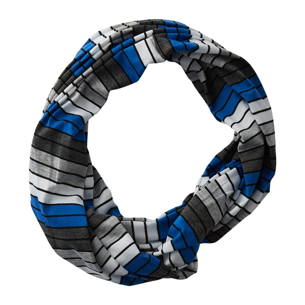 Wholesale Boutique Gifts - Gray Striped Infinity - Royal Blue - Tickled Pink