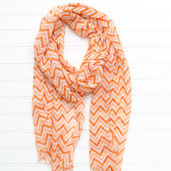 Wholesale Scarves - ZigZag Fringed Scarf - Burnt Orange - Tickled Pink
