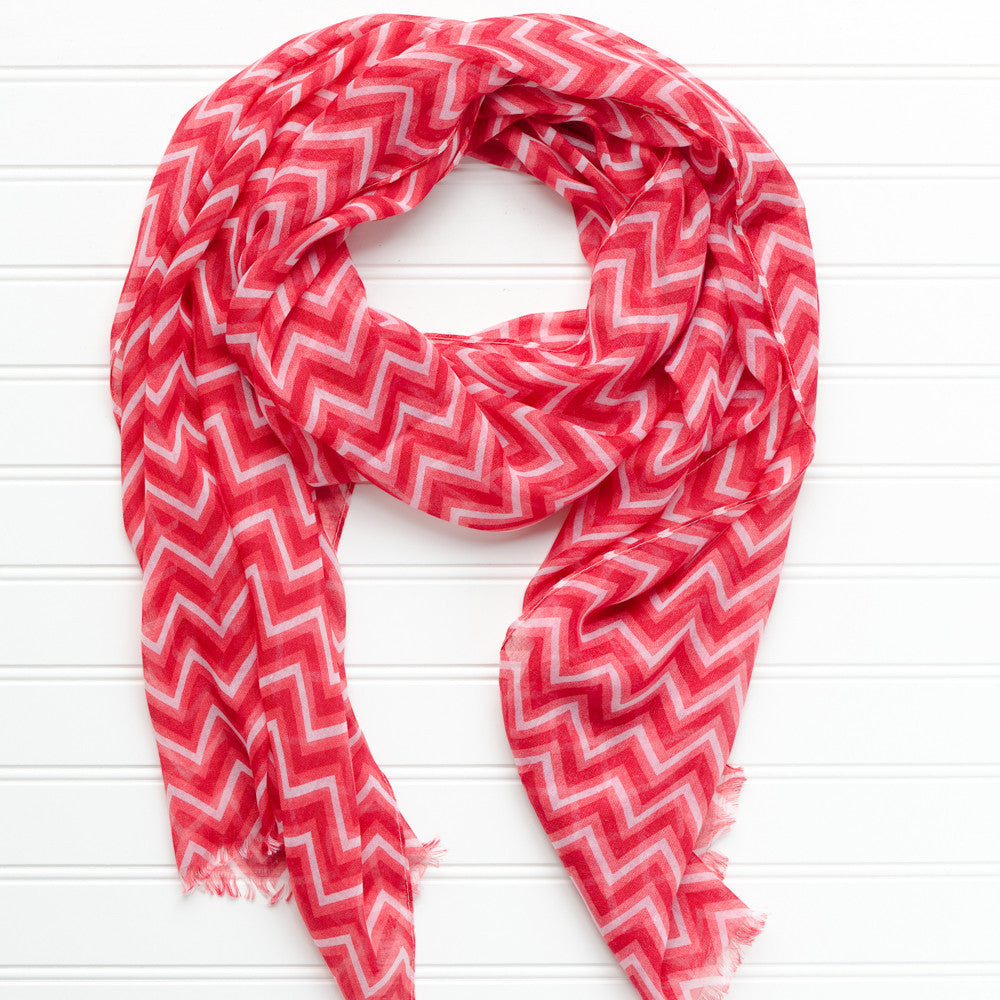 ZigZag Fringed Scarf - Crimson - Tickled Pink Wholesale