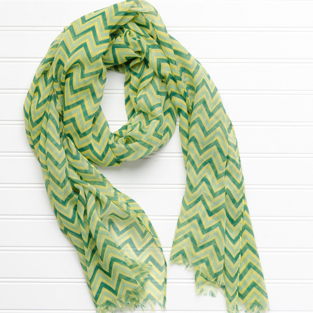 Wholesale Scarves - ZigZag Fringed Scarf - Green Yellow - Tickled Pink