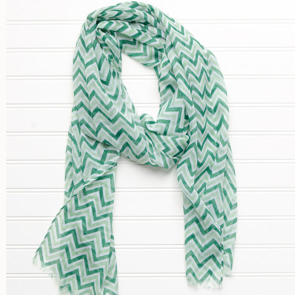 Wholesale Scarves - ZigZag Fringed Scarf - Green - Tickled Pink