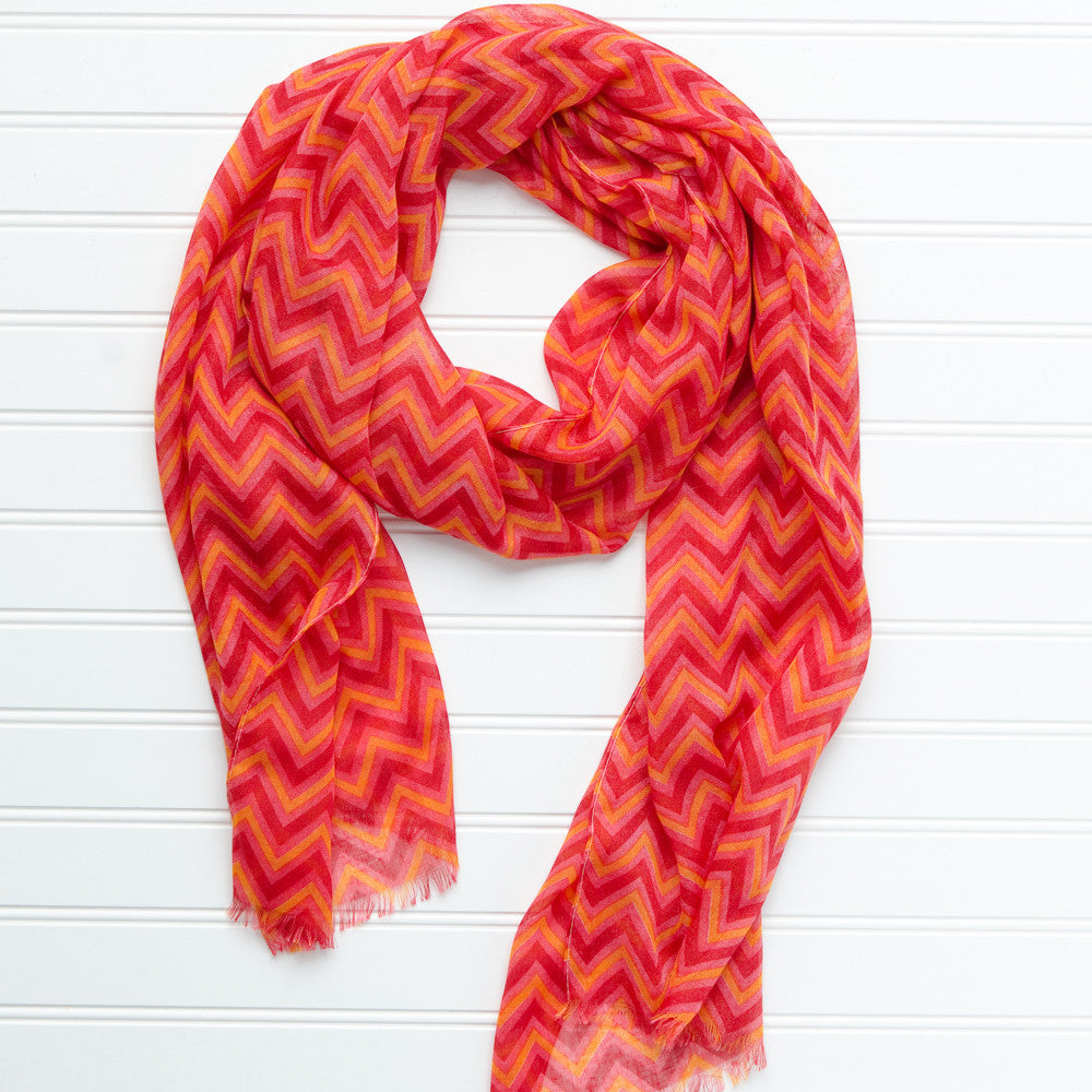 ZigZag Fringed Scarf - Maroon Orange - Tickled Pink Wholesale
