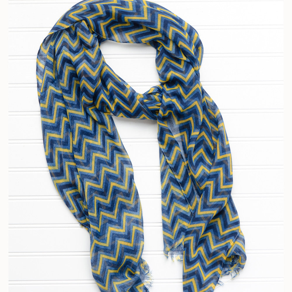 ZigZag Fringed Scarf - Navy Gold - Tickled Pink Wholesale