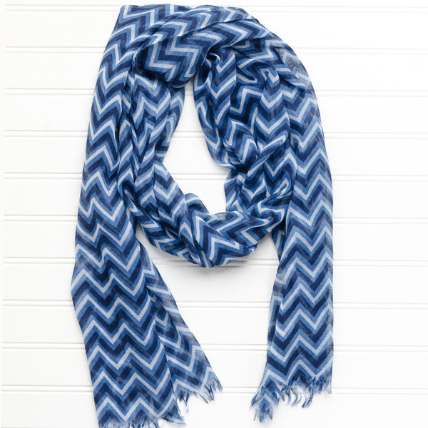 Wholesale Scarves - ZigZag Fringed Scarf - Navy - Tickled Pink