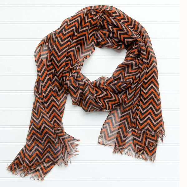 Wholesale Scarves - ZigZag Fringed Scarf - Orange Black - Tickled Pink