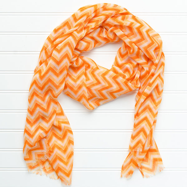 Wholesale Scarves - ZigZag Fringed Scarf - Orange - Tickled Pink