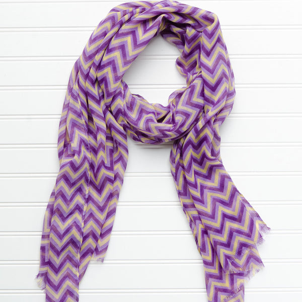 Wholesale Scarves - ZigZag Fringed Scarf - Purple Gold - Tickled Pink
