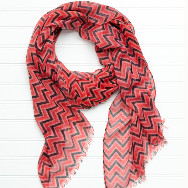 Wholesale Scarves - ZigZag Fringed Scarf - Red Black - Tickled Pink