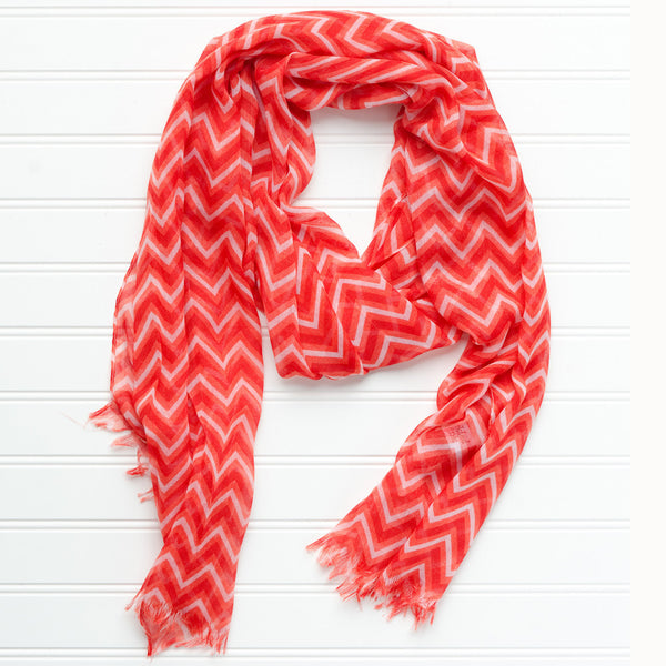 Wholesale Scarves - ZigZag Fringed Scarf - Red - Tickled Pink