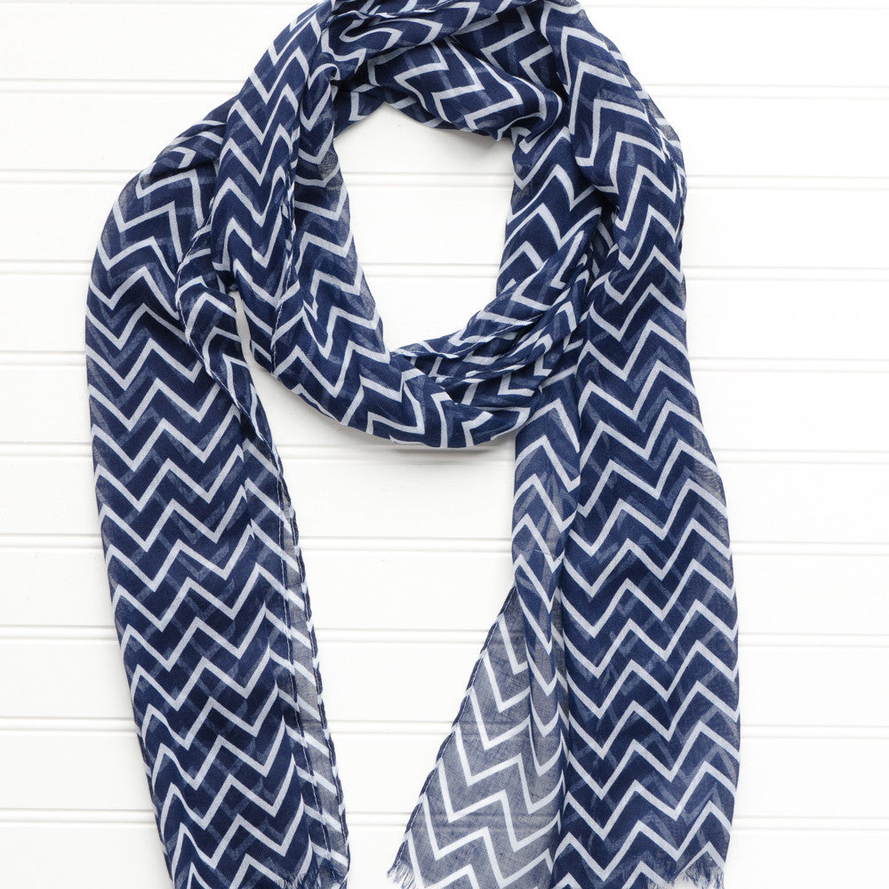Wholesale Scarves - Double Striped Chevron Scarf - Tickled Pink