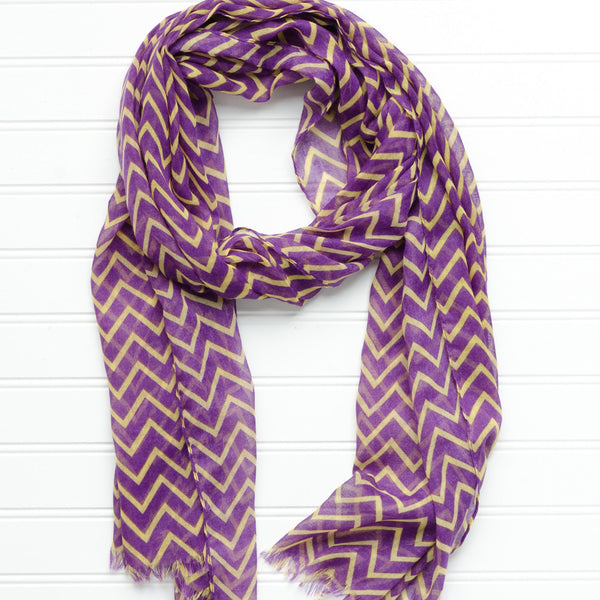 Wholesale Scarves - Double Stripe Chevron Scarf - Tickled Pink