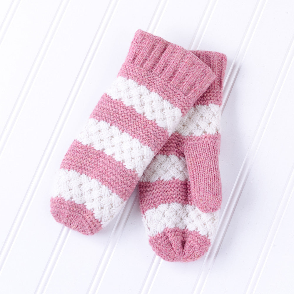 Faux Fur Lined Striped Mittens - Pink - Tickled Pink Wholesale