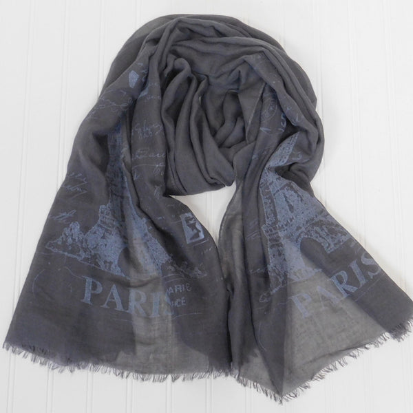 Wholesale Scarves - Eiffel Tower Paris Scarf - Dark Gray - Tickled Pink