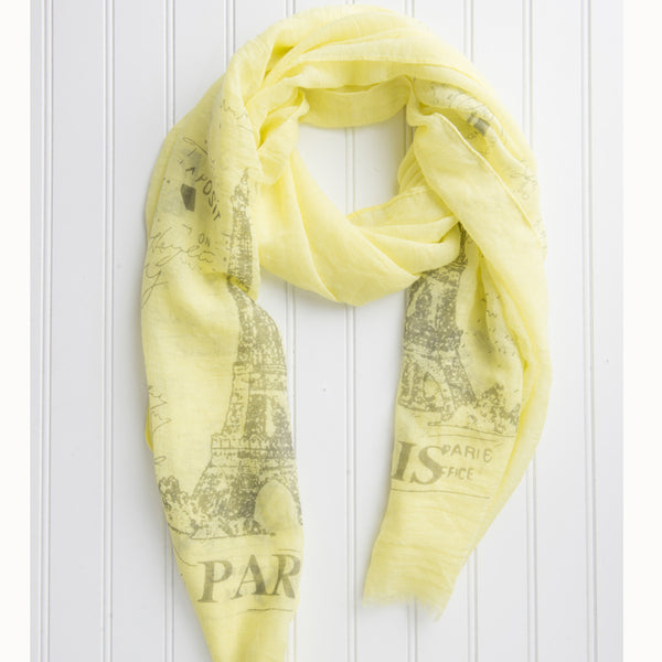 Eiffel Tower Paris Scarf - Yellow - Tickled Pink Wholesale