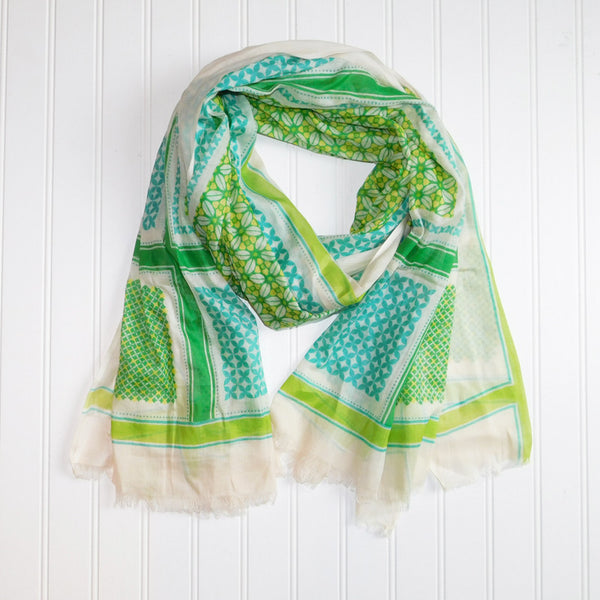 Wholesale Scarves - Townsend Pattern Scarf - Green - Tickled Pink