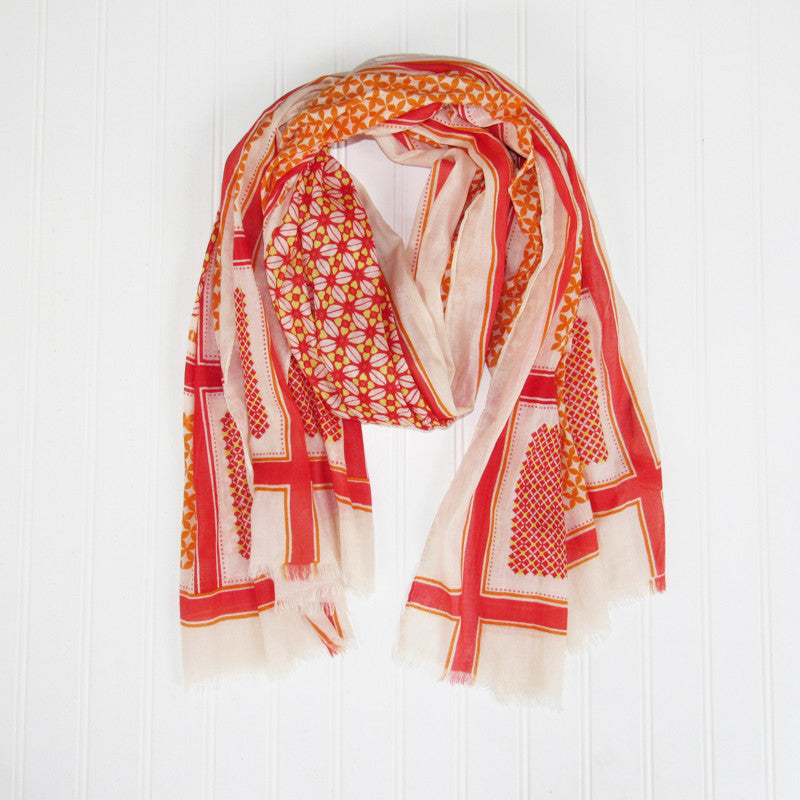 Wholesale Scarves - Townsend Pattern Scarf - Red - Tickled Pink