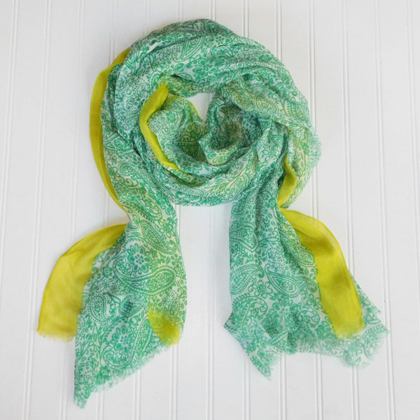 Wholesale Scarves - Paxi Paisley Scarf - Green - Tickled Pink