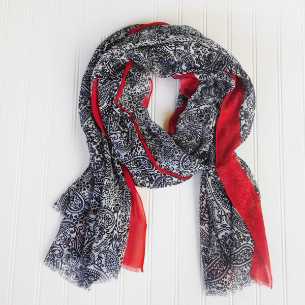 Wholesale Scarves - Paxi Paisley Scarf - Navy - Tickled Pink