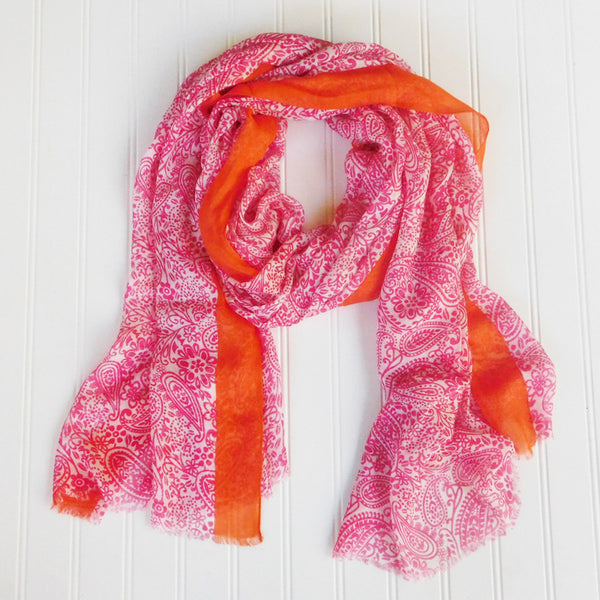 Wholesale Scarves - Paxi Paisley Scarf - Pink - Tickled Pink