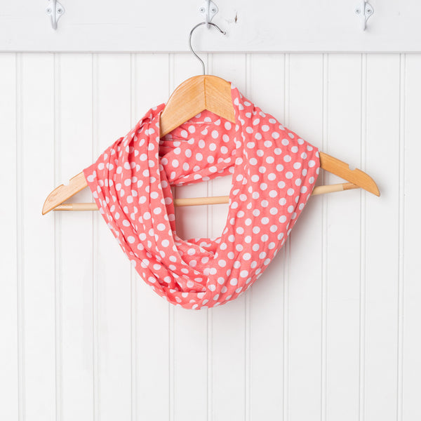 Wholesale Scarves - Cheerful Polkadot Infinity - Coral - Tickled Pink