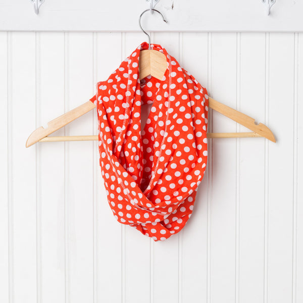 Wholesale Scarves - Cheerful Polkadot Infinity - Orange - Tickled Pink