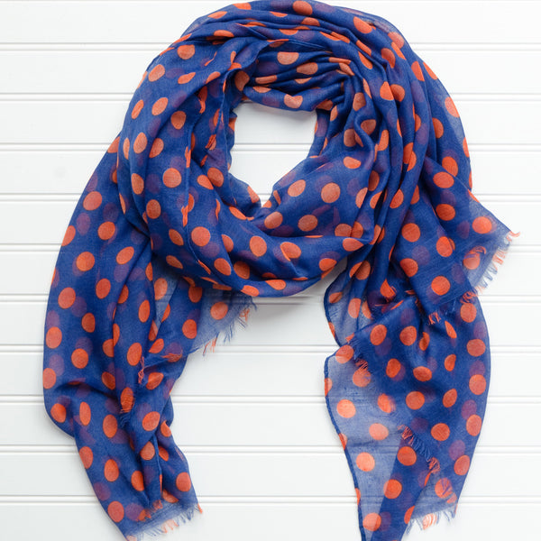 Wholesale Scarves - Large Traditional Polkadots-Blue Orange - Tickled Pink