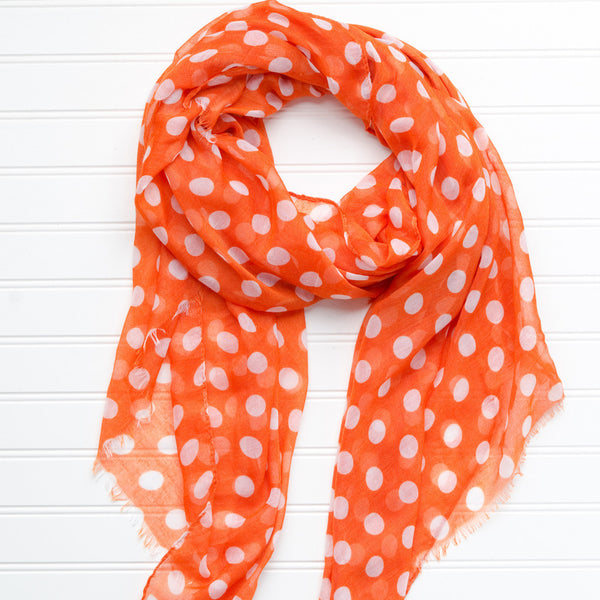 Wholesale Scarves - Large Traditional Polkadots-Burnt Orange - Tickled Pink
