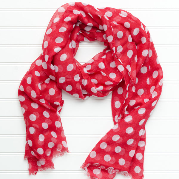 Wholesale Scarves - Large Traditional Polkadots-Crimson - Tickled Pink
