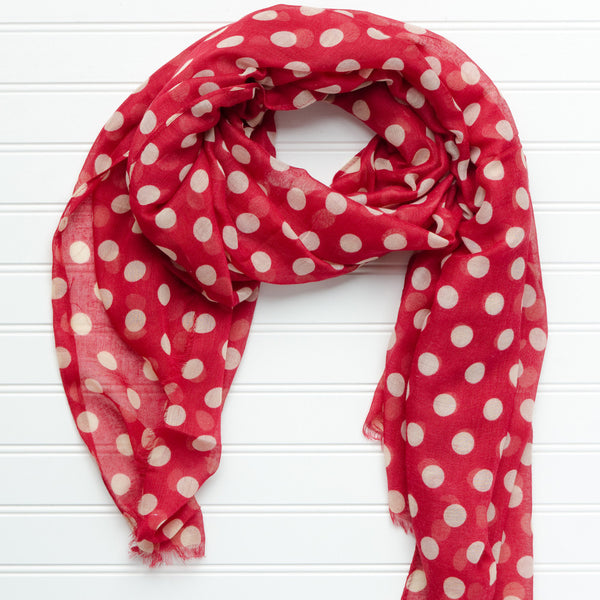 Wholesale Scarves - Large Traditional Polkadots-Garnet Gold - Tickled Pink