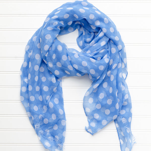Wholesale Scarves - Large Traditional Polkadots-Light Blue - Tickled Pink