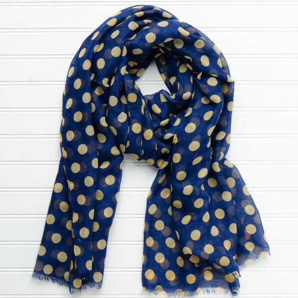 Large Traditional Polkadots-Navy Gold - Tickled Pink Wholesale