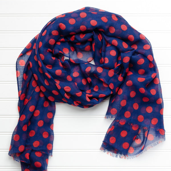 Wholesale Scarves - Large Traditional Polkadots-Navy Red - Tickled Pink