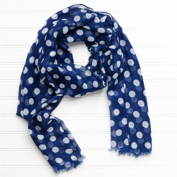 Wholesale Scarves - Large Traditional Polkadots - Navy - Tickled Pink