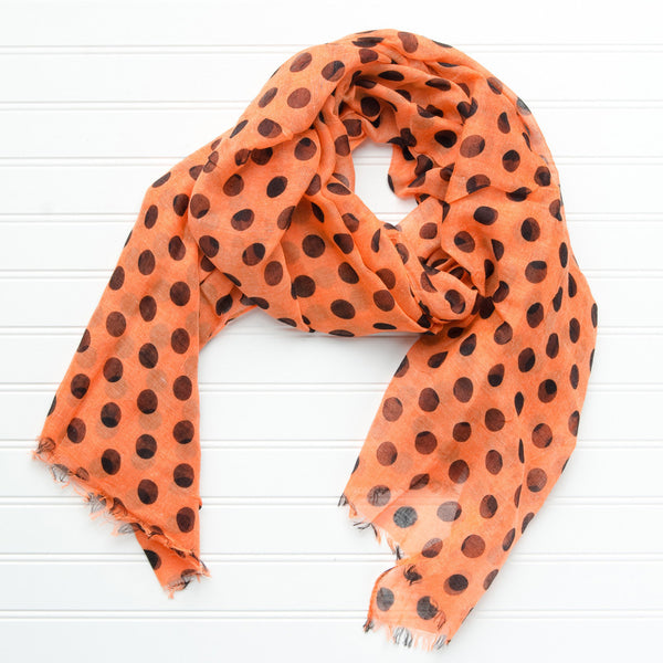 Wholesale Scarves - Large Traditional Polkadots-Orange Black - Tickled Pink
