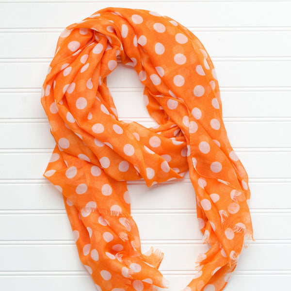 Wholesale Scarves - Large Traditional Polkadots-Orange - Tickled Pink